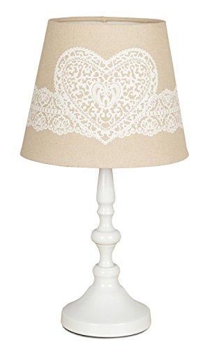 Tischlampe Metall 38cm hoch Weiß Beige Creme Lampe Vintage Shabby