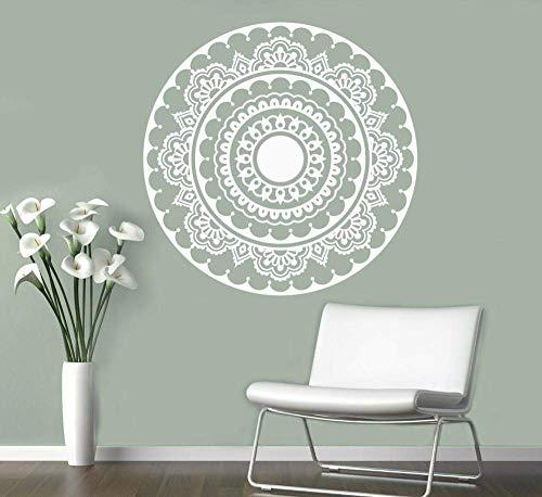 Yoga Runde Mandala Wand Tattoo Indische Henna Blume Vinyl Schlafzimmer Wandaufkleber Abnehmbare Kunst Abstrakte Home Decoration Wandbild, 42X42Cm