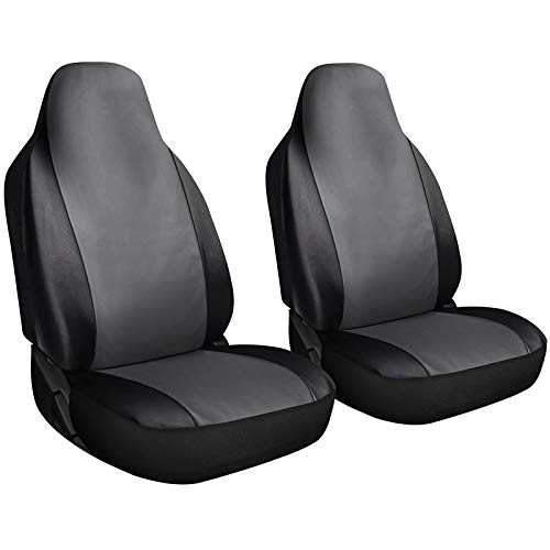 Motorup America High Back Leather Auto Seat Cover Set - Fits Select Vehicles Car Truck Van SUV - Gray & Black
