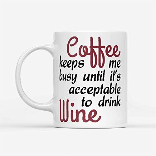 Funny Halloween Christmas Coffee Mug Funny Wine - Taza blanca 11oz