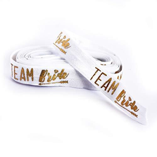 heaven+paper Team Bride Band weiß für 10 Armbänder - Braut 3 laufende Meter elastisches Gummiband für Junggesellinnenabschied und Hochzeit
