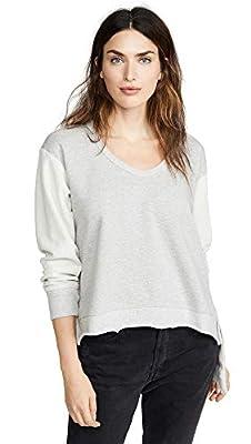 Wilt Women's Deep V Mixed Sweatshirt, Grey Heather, X-Small
