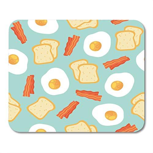 Ingrediënt rood ontbijt 's ochtends met roereieren Toast en speck cartoon op mousepad blauw brood wit blauw