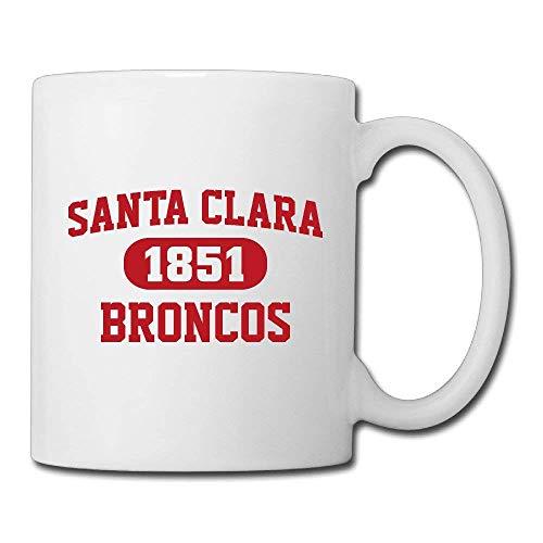 N\A Santa Clara Broncos Taza de café/té Personalizada de cerámica Blanca de 11 oz para Regalos Divertidos