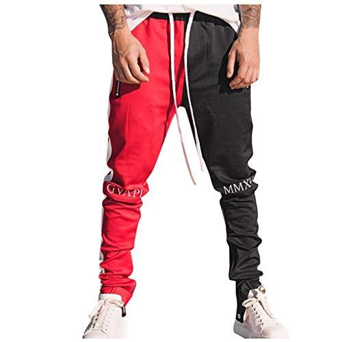 haoricu Men's Casual Loose Patchwork Color Sweatpant Trousers Jogger Pant Men's Gym Workout Harlan Pants Red