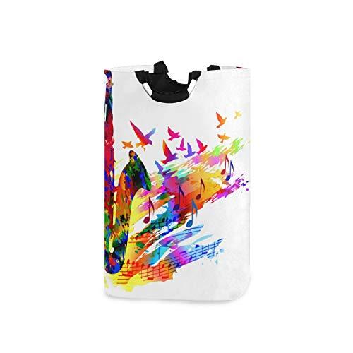 DYCBNESS Wäschesack,Musik Hintergrund Saxophon,Wäschesammler Wäschekorb Faltbarer Aufbewahrungskorb