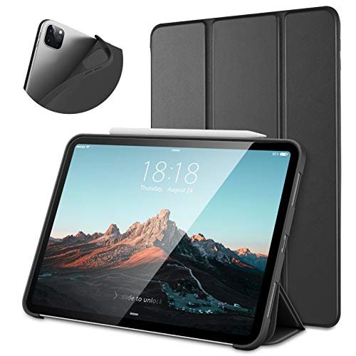 DTTO Case for New iPad Pro 12.9 Case 2020 & 2018 [Support Apple Pencil Pair & Charging], Ultra Lightweight Smart Protective Stand with TPU Soft Back Cover for 12.9 inch iPad Pro[Auto Sleep/Wake],Black