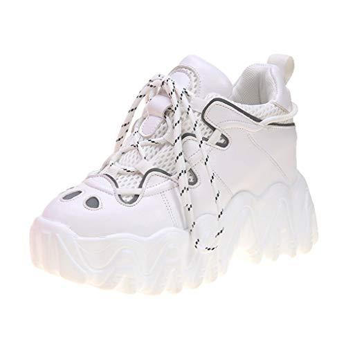 Lente Dames Sneakers Mode Verhoogde Interne Gevulkaniseerde Schoenen Platform Verborgen Wedege Enkellaarzen Mesh Veterschoenen Met Dikke Zool