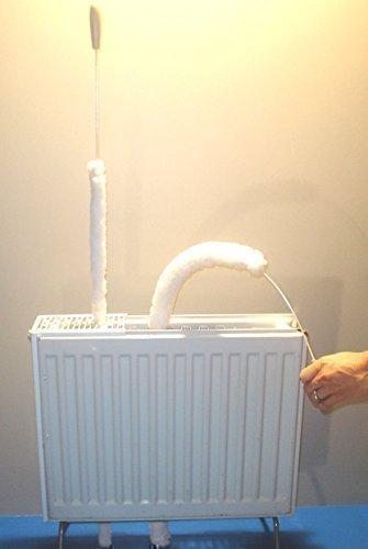 Reibu - Varilla de limpieza de microfibra para radiadores convectores de tecnología negra (longitud total: 105 cm; rango de microfibra: 74 cm) - resistente al polvo, flexible, para listones a partir de 1 cm