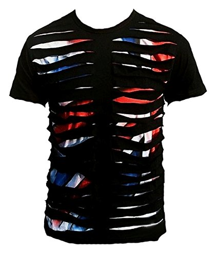 TICILA Herren T-Shirt Dolce Union Jack UK Shark Destroyed Star Vintage Airbrush Spray Sprüher Dj Clubwear Special Edition Jeans Wear Schwarz L 50/52