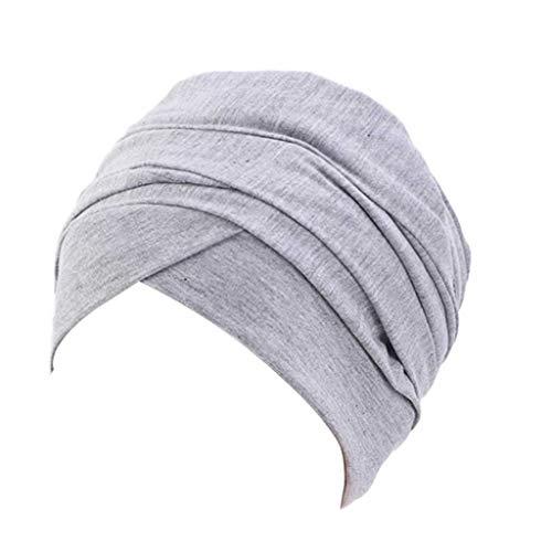 SHYPT Pelo de Las Mujeres Gorro de algodón Sombreros Bufanda Interior Hijabs la India Cabeza del Turbante del Sombrero de la señora del Pelo Accesorios de Estilo (Color : Light Grey)