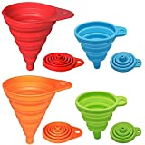 LINGLAN Set di 4 imbuti pieghevoli in silicone Rainbow Colors, piccoli e grandi, Utensili da cucina da cucina Imbuto pieghevole