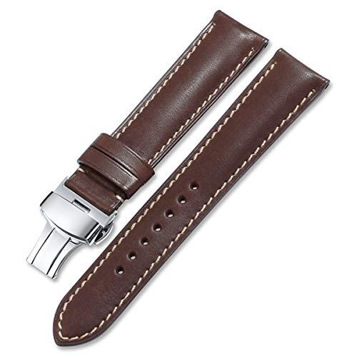 Uhrenarmband Frankreich Leder 16mm 18mm 19mm 20mm 22mm 24mm Lederband Männer Frauen Armband-Schmetterlings-Faltschließe Kaffee mit Tan, 21mm