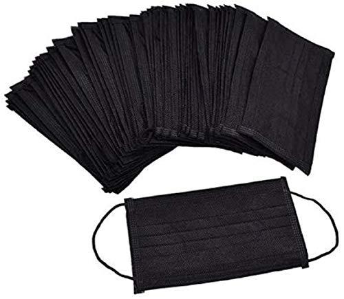 Firoya 50 Tabletas, Triple Capa Transpirable Cómodo para la Salud Facial,Adecuado para Rostro Adulto,Esencial para Actividades en Interiores y Exteriores (50 - Negro)