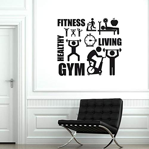 Gym Wall Decals Sports Activities Fitness Healthy Life Interior Design Decoration Vinyl Wall Stickers Fitness Equipment murals