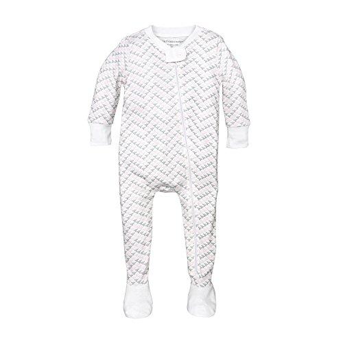 Burt's Bees Baby Baby Girls' Organic Print Zip Front Non-Slip Footed Sleeper Pajamas, Blossom Chevron Bee, 18 Months