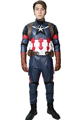 Mesky EU Los Vengadores Capitán América Costume Steve Rogers Disfraz 7PZ para Adultos Captain America 3: Civil War Cosplay Costume Accesorio Halloween Carnaval Coleción para Hombre/Mujer