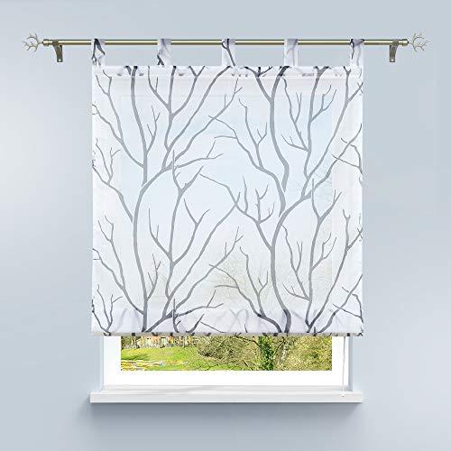 HongYa Raffrollo mit Schlaufen Transparente Raffgardine Voile Schlaufenrollo Küche Kleinfenster Gardine mit Äste Muster H/B 140/100 cm Weiß Grau