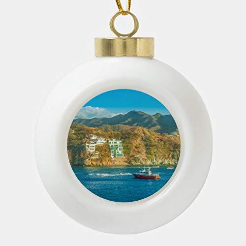 Dom576son Bola de Navidad, Paisaje de Bahía de Taganga, Bola de cerámica Colombia, adorno de Navidad, irrompible, bolas de árbol para decoración de vacaciones, bodas y fiestas