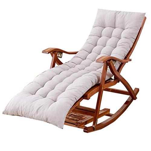 GUOOK Silla Mecedora para jardín Exterior Balcón Sala de Estar |Silla de relajación Plegable para niños Adultos con Cojines Grises |Tumbonas para Tomar el Sol