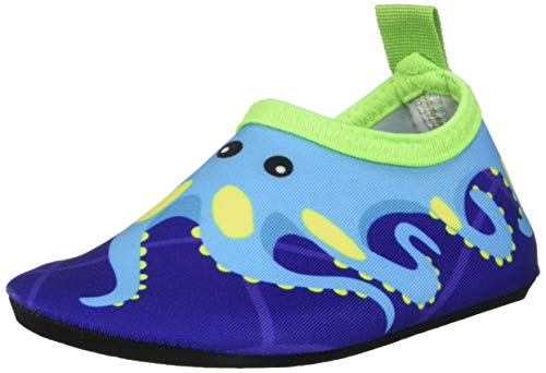 Bigib Toddler Kids Swim Water Shoes Quick Dry Non-Slip Water Skin Barefoot Sports Shoes Aqua Socks for Boys Girls Toddler (7 Toddler, Blue Octopus)