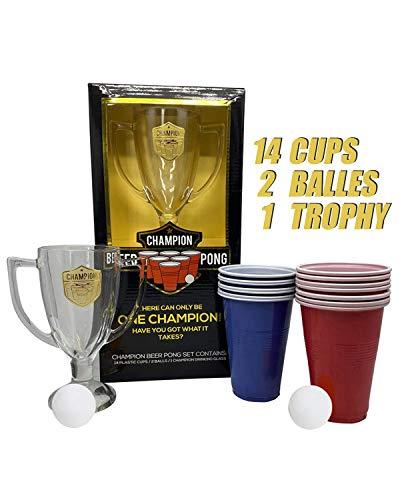 Offizielles Original Beer Pong Kit Champion | Beer Pong Gesamtpaket | Premium Qualität | 14 Red und Blue Cups | 1 Glastropokal | 2 Bälle | Trinkspiel | Party und Aperitif Spiel | OriginalCup®