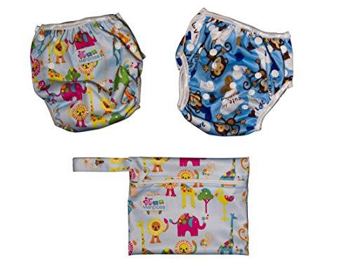 MARIPOSA | Bañador Pañal Bebé - Reutilizable Lavable y Ajustable - Pañales de Natación para Piscina y Mar para Niño de 0 a 2 Años - 2 pañales con funda impermeable (animales y mono)