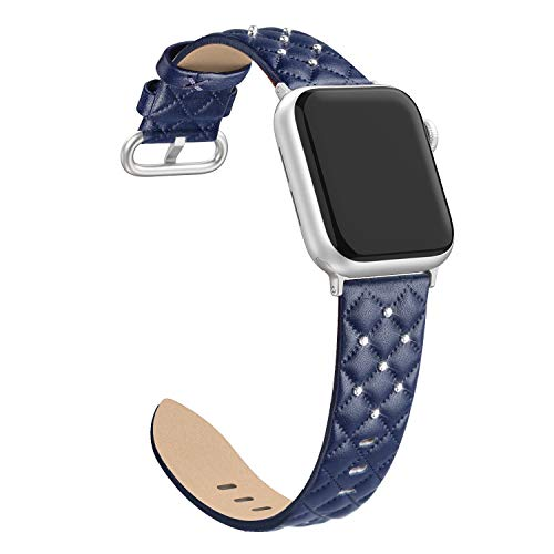 Bagoplus Compatible with Apple Watch Band 38mm 40mm Series 3 Series 5, Top Grain Leather Replacement iWatch Bands 38mm 40mm Womens Men for iWatch SE & Series 6/5/4/3/2/14