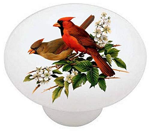 Cardinal Male Female Birds Cardinals Ceramic Dresser Drawer Pulls Cabinet Knobs