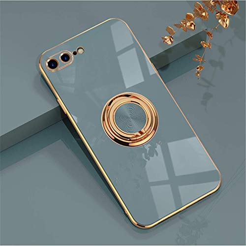 EYZUTAK Electroplated Magnetic Ring Holder Case, 360 Degree with Rotation Metal Finger Ring Holder Magnet Car Holder Soft Silicone Shockproof Cover for iPhone 7 Plus iPhone 8 Plus - Gray