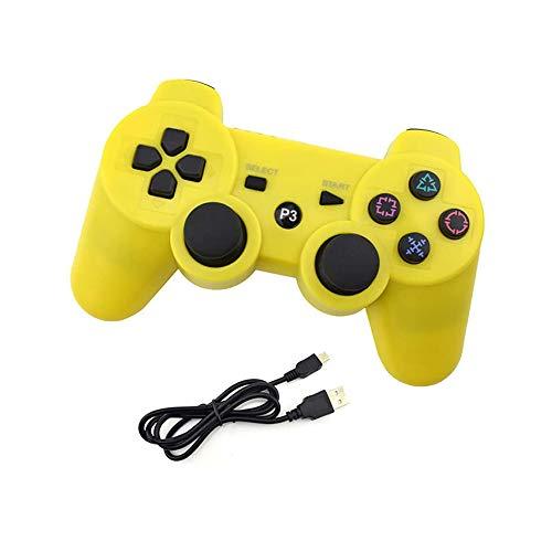 Cdy Bluetooth-Game-Controller, Tragbare Bluetooth Wireless Gaming Joystick Griff USB Aufladbare Gamepad Joystick Mit Dual Shock Vibration Für PS3 / PC,Gelb