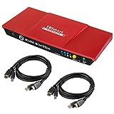 TESmart HDMI KVM Switch 4K 30Hz Caja del Conmutador con 2 Piezas de Cables KVM de 5 Pies Soporta el Control de Dispositivos USB 2.0 hasta 4 Computadoras/Servidores/DVR (Rojo)