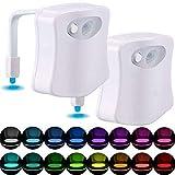 CHENJIA Bewegungsaktiviertes WC-Nachtlicht, [2er-Pack] 16-farbige Änderungen...