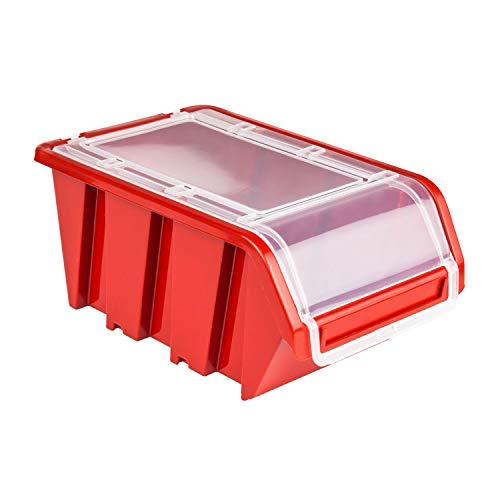 20 x Stapelbox Stapelkiste Sortierbox Box mit Deckel 100x155x70 Rot