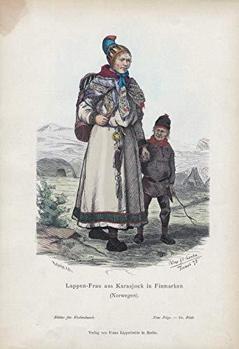 Lappen-Frau aus Karasjock in Finmarken (Norwegen). - Karasjok Troms ug Finnmark Norway Norwegen Tracht costume Kostüme