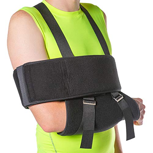 "BraceAbility Sling and Swathe Immobilizer for Dislocated Shoulder, Broken Arm, Fractured Humerus or Clavicle, Post Rotator Cuff Surgery (One Size - Fits Men & Women up to 54"" Body Circumference)"