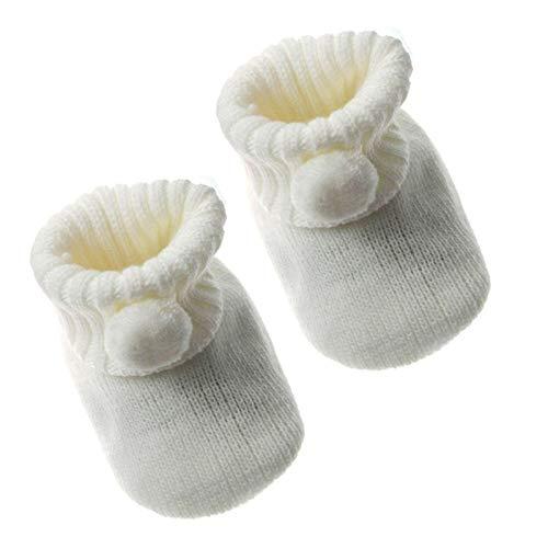 Mansuri Soft Touch Baby Boys Girls 1 Pair Pom Pom Baby Booties Newborn-3 Months Approx S408 (Cream)