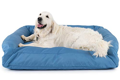 K9 Ballistics Tough Bolster Nesting Large Dog Bed - Washable, Durable and Waterproof Dog Beds - Made for Big Dogs, 34'x40', Blue