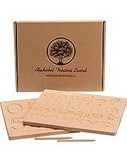 Alfabet spårande bräda, 2 st dubbelsidiga träbokstäver spårningsnummer och mönster, fantastiska Montessori-leksaker för småbarn 25 x 20 x 1,3 cm