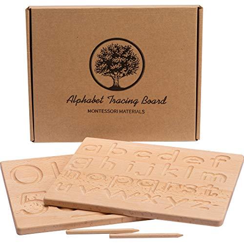 Tablero de seguimiento del alfabeto, 2 patrones de números de seguimiento de letras de madera de doble cara, grandes juguetes Montessori para niños pequeños de 10 x 8 x 0,5 pulgadas
