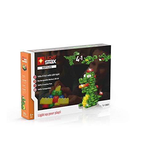 Light Stax Illuminated Fun Building Block Toy Reptiles Set - 105 Bricks