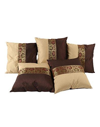 Fodera per cuscino Super Soft per divano / letto / sedia / salotto - 40x40 cm - Federa per schienale con cerniera invisibile Double Face Square Cotton Paio Confezione da 5 pezzi Etnico