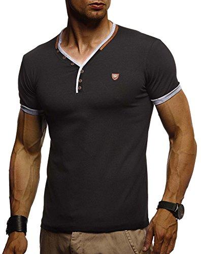 Leif Nelson Herren T-Shirt V-Ausschnitt Sweatshirt Longsleeve Basic Shirt Hoodie Slim Fit LN1330; Größe XL, Schwarz