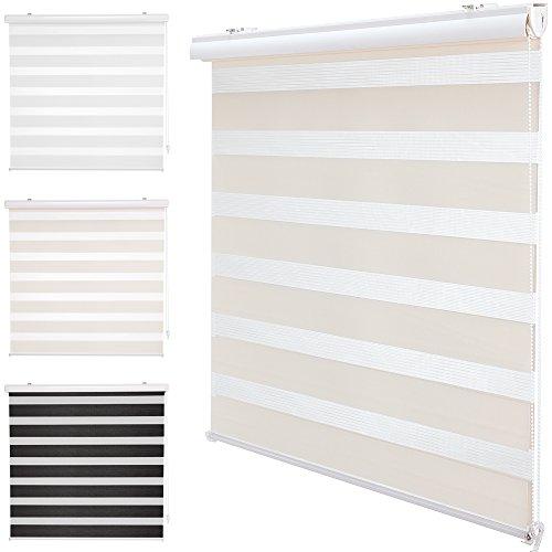 PROHEIM DuoRollo+ in Creme Premium Doppelrollo mit Variabler Klemmfix-Halterung und Frontblende Seitenzug-Rollo mit Alu Klemmträgern für Fenster und Türen, Größe:80 x 160 cm