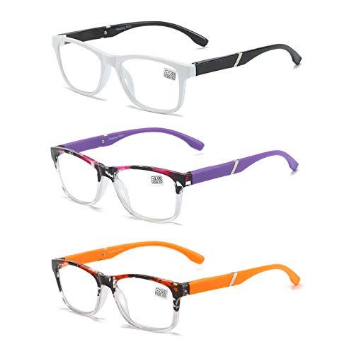 Lesebrille 3er-Pack Computerbrille Herren und Damen mode Lesebrillen mit bequemen Federscharnieren Brille +2.0