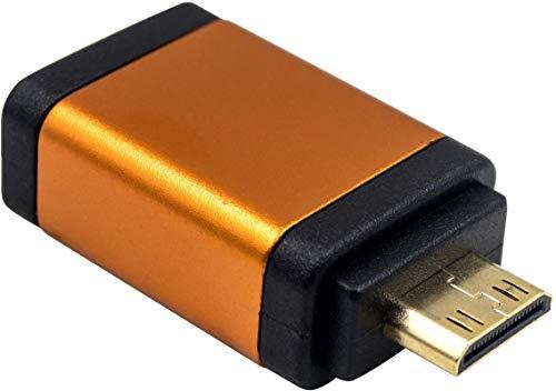 Adaptador HDMI a Mini HDMI Adaptador Mini HDMI Macho a HDMI Hembra 4kx2k @ 60HZ Adaptador de Video Ultra HD UHD 1080p Full HD Compatible con Raspberry Pi, Fuji Camera, Camcorder, etc. (Naranja)