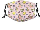 Lindo animal conejillo de indias floral mascarilla bufanda, pañuelo ajustable lavable reutilizable con filtros, para mujeres y hombres adultos-lindo animal conejillo de indias con patrón de frutas