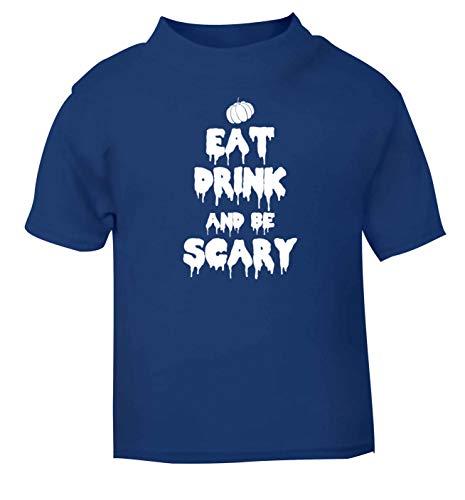 Flox Creative T-Shirt pour bébé Inscription Eat Drink Scary Noir - Bleu - 2 Mois