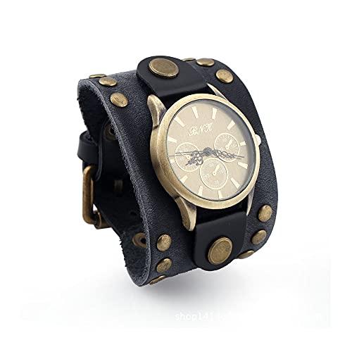 TZH Reloj De Pulsera Vintage Medieval, Steampunk Hip-Hop Reloj De Cuarzo De Cuero PU con Esfera Grande Reloj De Pulsera con Remaches Deportivos Al Aire Libre para Hombres Y Mujeres,Marrón
