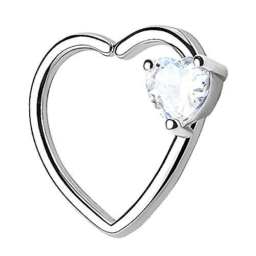 Piercingfaktor Continuous Piercing Ring Herz mit Kristall Stein für Tragus Helix Ohr Cartilage Knorpel Ohrpiercing Silber Clear Links
